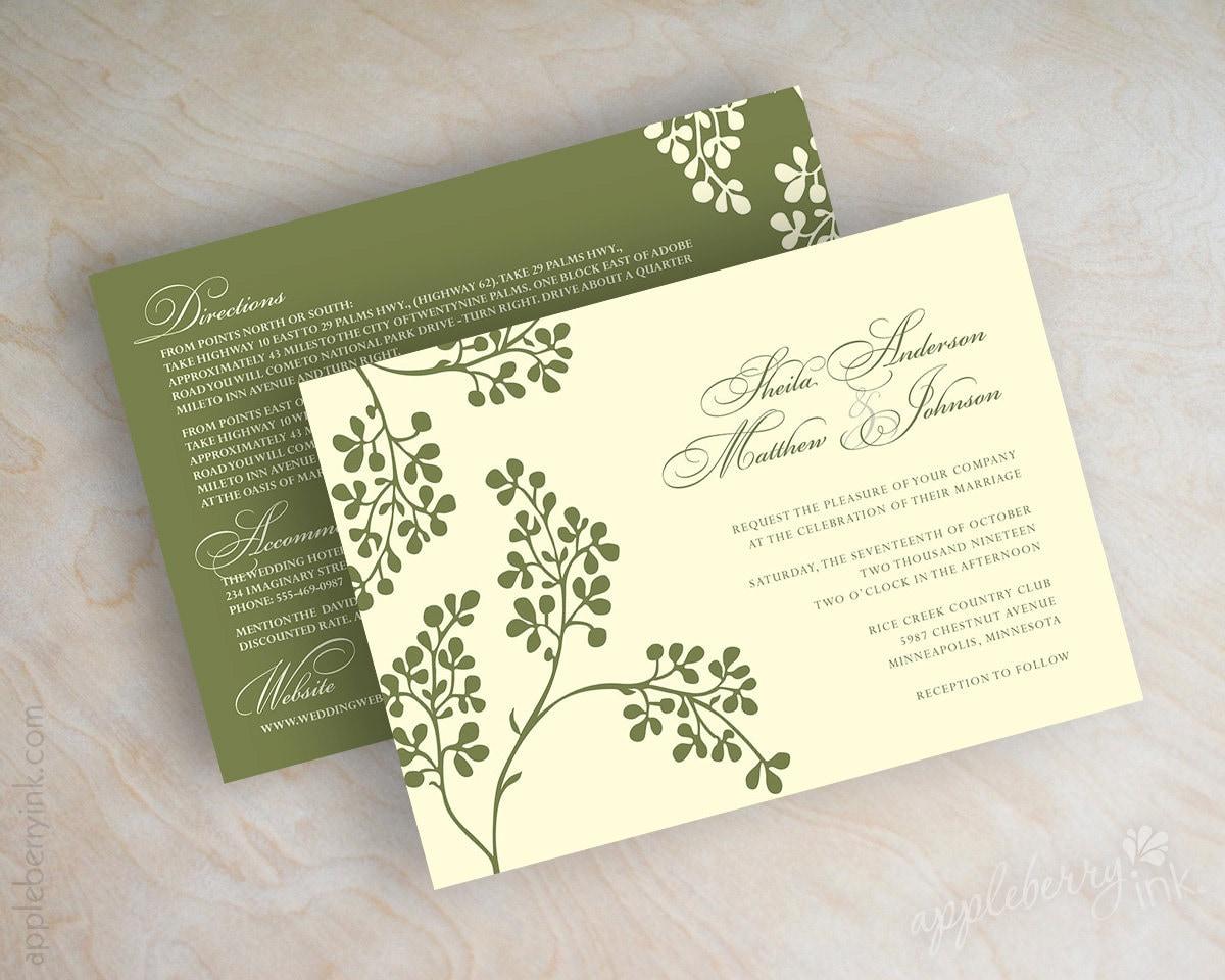 olive branch wedding invitation olive branch invite olive, Wedding invitations