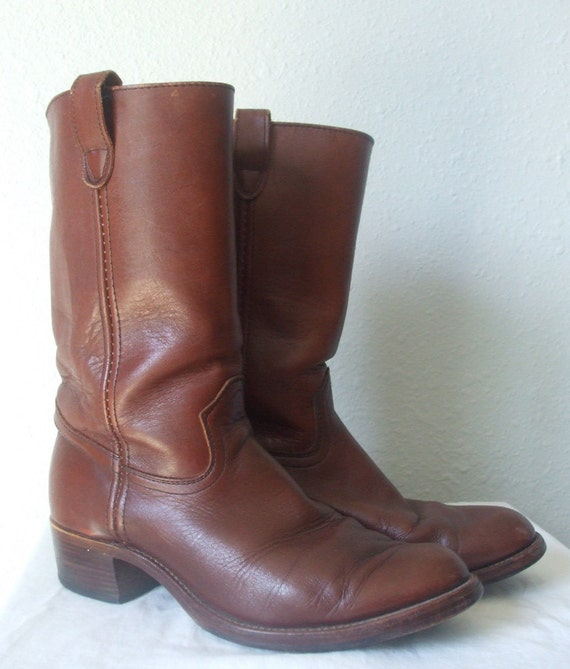 70s Campus Boots, leather, stacked heel, womens 10, mens 9
