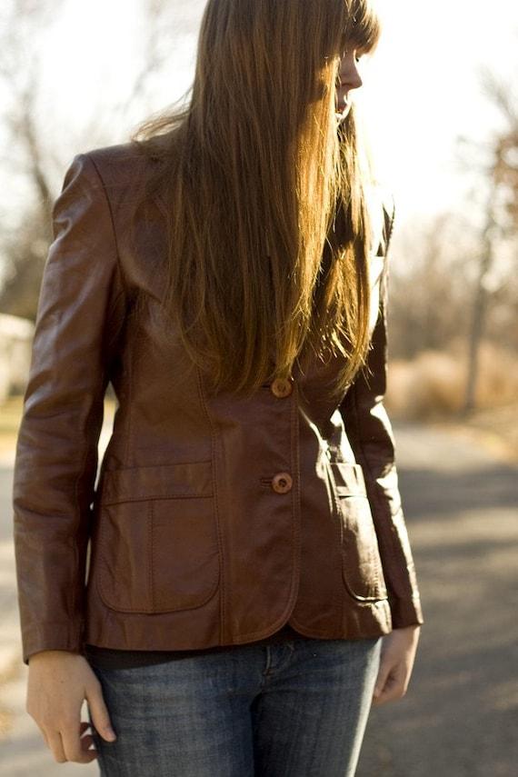 SALE  brown leather blazer
