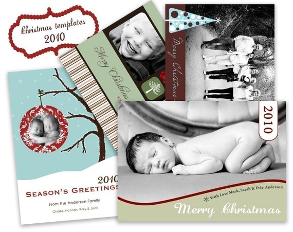 Mini Template Package. 10 Photo Christmas Card designs. 2010 designs.