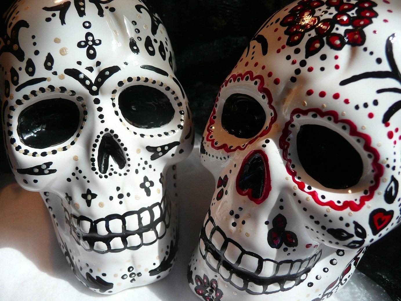 day of the dead gothic skull cake topper lrg red black