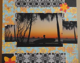 SALE! Surfer Sunset on Waikiki Beach Hawaii Fine Art Scrapboard 18 x 24 inches