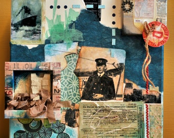 Titanic SOS Preserving Life 12 x 12 fine art painting collage
