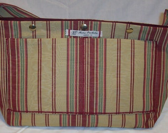 Amber Satchel in Gold, Burgundy, Sage Striped Moire Upholstery Fabric and burgundy duck cotton lining