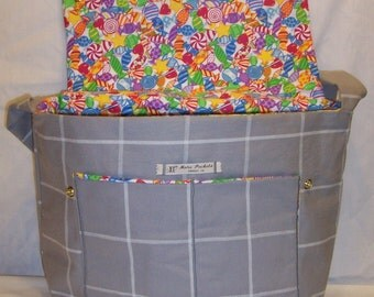 Kate Messenger in White Window Pane Plaid On Gray Heavy Cotton and a bright candy on white flannel lining