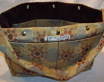 Amber Satchel in Gold, Bronze, Silver Circle Pattern Upholstery and dark brown faux suede lining