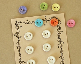 Handmade Buttons White Clay Stoneware