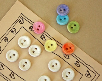 Eight(8) Handmade Clay Buttons - White Clay Buttons - Paintable Buttons - Decorative Buttons