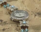 Flower Swarovski Crystal Watch Bracelet
