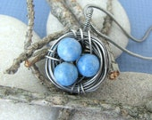 Bird's Nest - Lapis Wire Wrapped Oxidized Sterling Silver Necklace