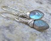 Blue Labradorite Earrings Silver Labradorite Earrings