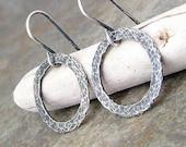 Hoop Earrings Silver Hoop Earrings Hammered Hoop Earrings Silver Circle Earrings-Eternity Circle Earrings