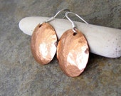 Hammered Copper Earrings Domed Shiny Disc Circle Earrings