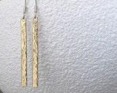 Brass Hammered Earrings Brass Stick Earrings Tab Twig Earrings Rustic Brass Boho Earrings