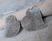 Hammered Silver Heart Antiqued Rustic Earrings