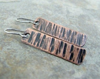 Hammered Copper Copper Bark Earrings Rustic Tab Earrings Birch Bark Dangles Rustic Copper Earrings Boho Chic Line Earrings Textured Copper