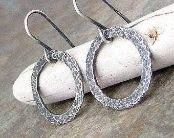Small Hoop Earrings Silver Hoop Earrings Hammered Hoop Earrings Rustic Silver Hoops Simple Hoop Earrings Minimalist Jewelry Gift for Her