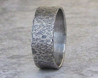 Mens Wedding Band Hammered Silver Wedding Ring Distressed Antiqued Wedding Band Rustic Wedding Bands Unique Wedding Rings by SilverSmack