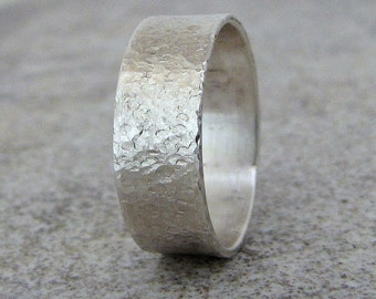 Mens Wedding Band Hammered Silver Wedding Ring Distressed Rustic Wedding Rings Unique Wedding Bands Rugged Ring Gift for Him Mens Jewelry
