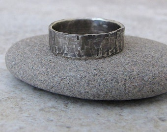 Hammered Silver Ring Distressed Antique Wedding Band Rustic Wedding Rings Unique Wedding Bands Rugged Rough Silver Wedding Band Gift for Him