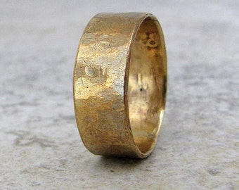 Brass Hammered Ring Men's Rustic Band Wedding Ring Wedding Band- Relic Artifact
