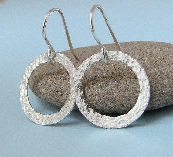 Silver Hoop Earrings Hammered Hoop Earrings Silver Circle Earrings