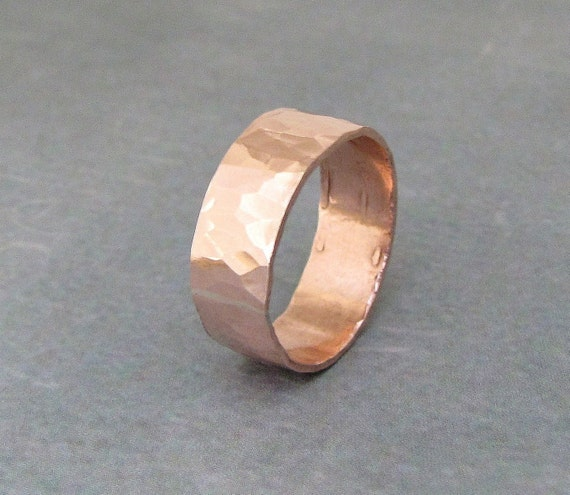 Hammered Copper Wide Ring Band - All That Glitters
