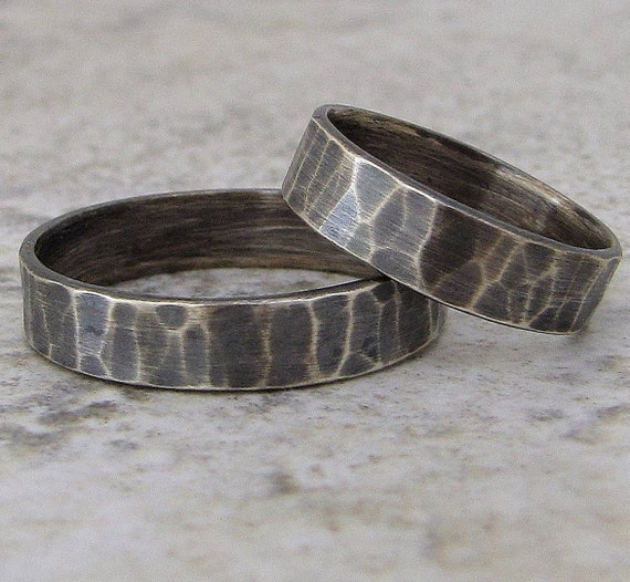 Wedding Bands Silver Hammered Wedding Rings Rustic Wedding Band Set Silver Engagement Ring Set
