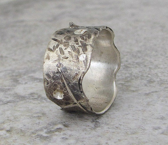 Silver Wedding Ring Distressed Wedding Band Rugged Mens Ring Rustic Wedding Bands Unique Wedding Rings Mens Jewelry Gift for Him SilverSmack