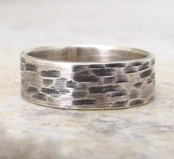 Bark Wedding Band Mens Wedding Band Hammered Silver Wedding Ring Birch Woodgrain Ring Primitive Rustic Wedding Rings Unique Wedding Bands