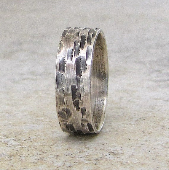 Bark Wedding Band Mens Silver Wedding Ring Rustic Wedding Bands Birch Bark Ring Unique Wedding Rings Men's Jewelry Gift for Him Rugged Rings
