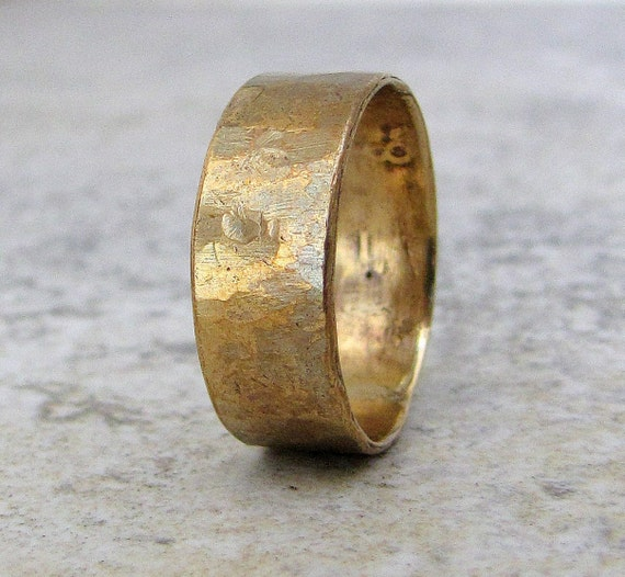 Brass Hammered Ring Mens Wedding Band Distressed Rustic Wide Band Unique Wedding Rings Rustic Wedding Bands Gift for Him- Relic Artifact