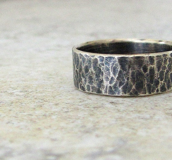 textured silver ring hammered rustic wedding band by