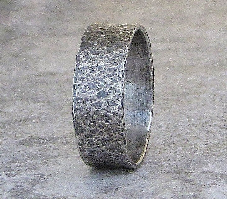 Mens Wedding Band Hammered Silver Wedding Ring Distressed