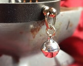 Tiny Silver  Bell on Black Leather Choker