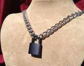 Chain Choker with Black Padlock