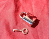 Large Nickel-Plated Square  Working Padlock