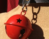 Small Red  Bell on Black Leather Choker