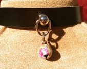 "Super Tiny Pastel ""Tie Dyed"" Bell on Black Leather Choker"