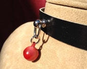Tiny Red Bell on Black Leather Choker