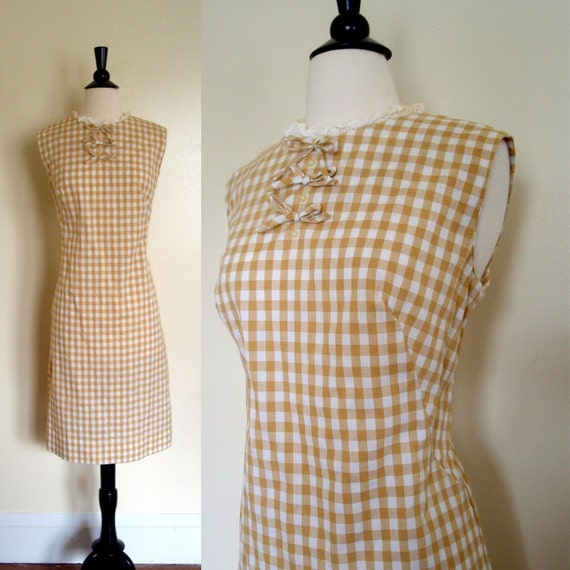 60s Dress / Tan Brown White Gingham Shift Sheath Lace Bow Wiggle Dress