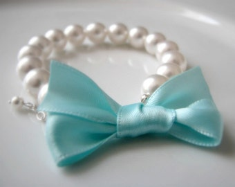 Custom Color Bridesmaid Bracelet - Satin Bow and Pearls