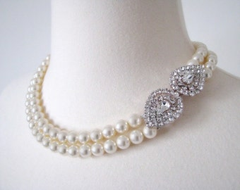The Grace Kelly Necklace - Vintage-Inspired Pearl and Rhinestone Bridal Necklace