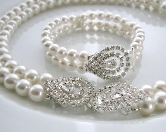 The Grace Kelly Set - Vintage-Inspired Pearl and Rhinestone Necklace and Bracelet
