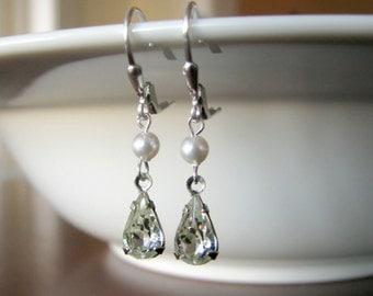Vintage Rhinestone and Pearl Earrings