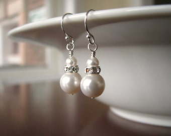 Bridal Earrings - Pearl and Rhinestone