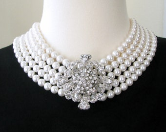 The Audrey Hepburn Necklace - Breakfast at Tiffany's - Pearl and Rhinestone Statement Necklace
