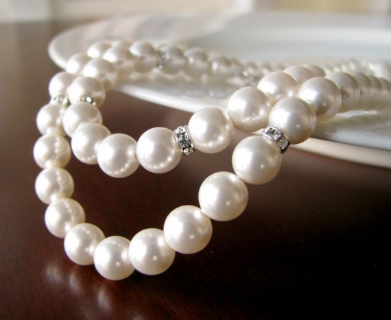 Bridesmaid Necklace and Bracelet Set- Pearl and Rhinestone