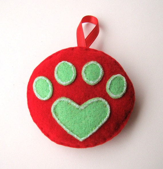 Red and Green Heart Paw Christmas Ornament