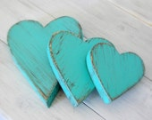 Wood Hearts Decorative Country Shabby Chic Cottage Decor AQUA or you chose color